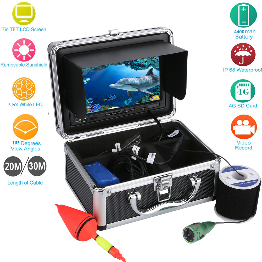 20m/30m 1000TVL HD Fish Finder Underwater Fishing Camera 7'' Video Recorder Solar Coverage 6 Infrared IR LEDs DVR Diving Camera смена жилет для девочки смена