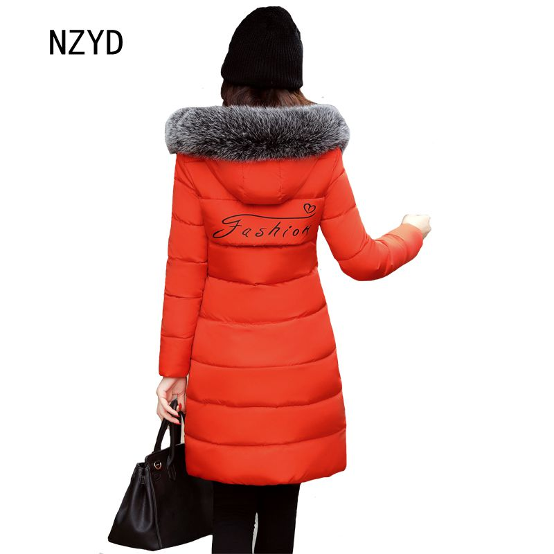 Winter Women Jacket 2017 Hooded Thick Warm Medium long Print Cotton Coat New Fashion Long sleeve Slim Big yards Parkas LADIES315 winter women down jacket hooded thick warm cotton coat large size new style casual jacket slim long sleeve medium long coat 2580