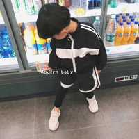 Boys set 2018 new Korean version of the fall two piece jacket short paragraph leggings male baby tide style