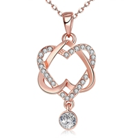 Elegant Rose Gold Crystal Rhinestone Long Necklace Lover Gifts Zircon Statement Pendant Fashion Show Party Heart Charm Jewelry