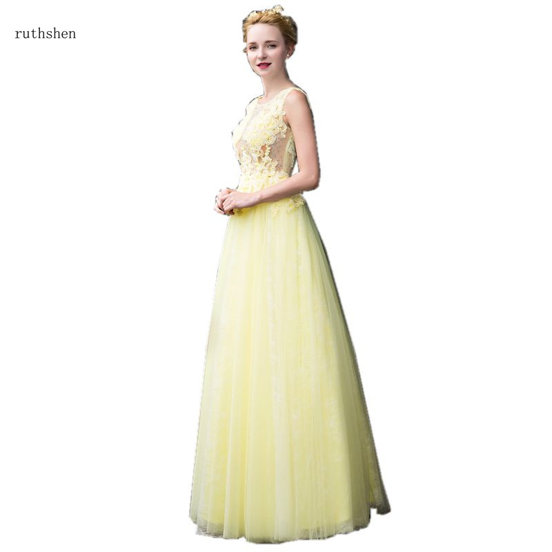 ruthshen Elegant Sexy Illusion   Prom     Dresses   2018 New Yellow Formal Party Gowns A-Line Appliques Beaded Women   Prom   Gowns