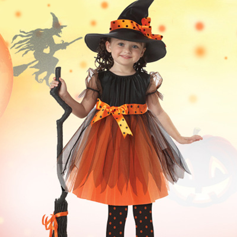 Girls Halloween Costume Little Witch Cosplay Stage Wear Clothing Kids Children Fancy Dresses Party Clothes Dress & Hat Set