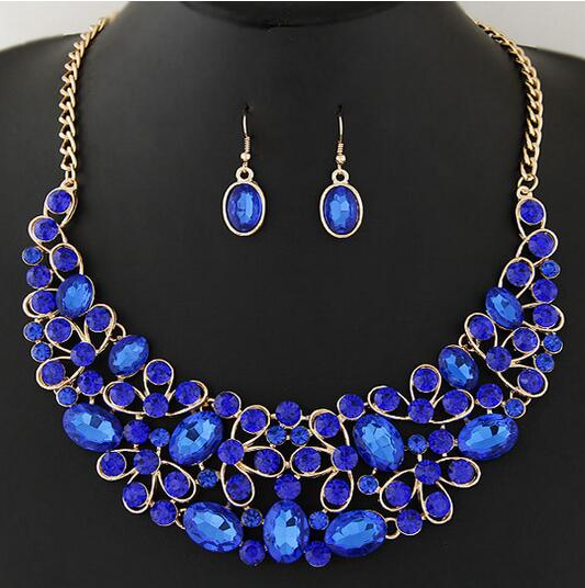NANBO MX0003 New Fashion Hollow Charm Necklaces Bow Flower Stone Maxi Jewelry sets Short font b