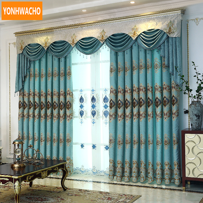 Custom curtains Embroidered flowers luxury French simple European thick blue cloth blackout curtain tulle valance drapes N889Custom curtains Embroidered flowers luxury French simple European thick blue cloth blackout curtain tulle valance drapes N889