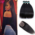 Unprocessed 7A Indian Virgin Hair With Closure Remy Queen high quality Straight 3 Bundles Soft Human Hair Weave Lace Closure 4*4
