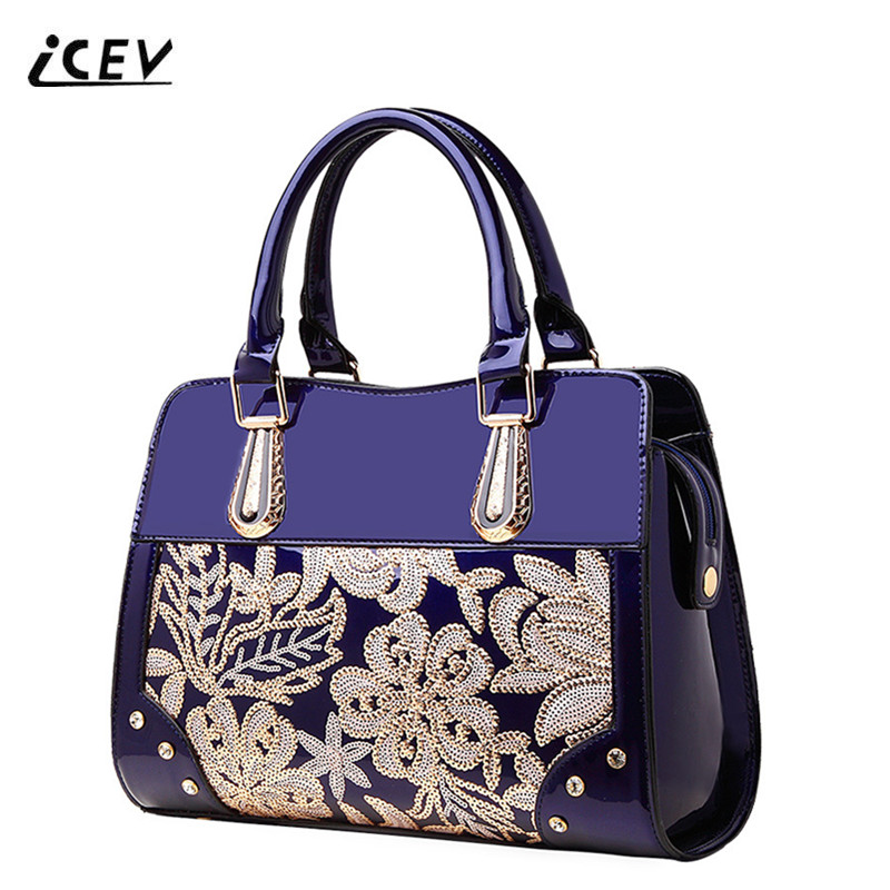 ICEV New Fashion Flower Diamonds High Quality Patent Leather Women Leather Handbags Bags Handbags Women Famous Brands Bolsa Sac