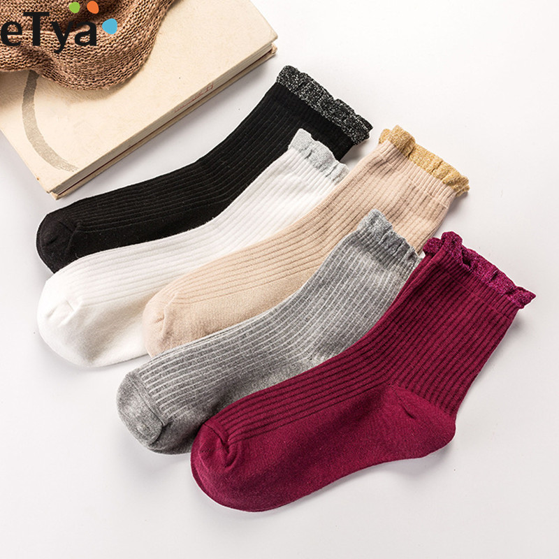 ETya Women Socks Cotton Autumn Winter Warm Lace Socks Cute Gift For Girls Retro Sox Breathable Sweat-absorbent Christmas Socks