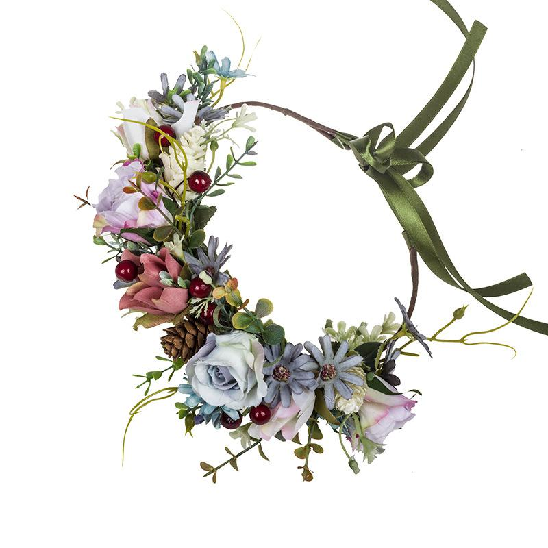 New Bohemian Rose Eucalyptus Garland Handmade Simulation Daisy Forest Female Bride Holiday Honeymoon Garland Wedding Accessories