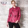2016 осень зима новая мода средней длины тонкий верхняя одежда женщины turn down воротник регулируется поясом кожа траншеи куртка