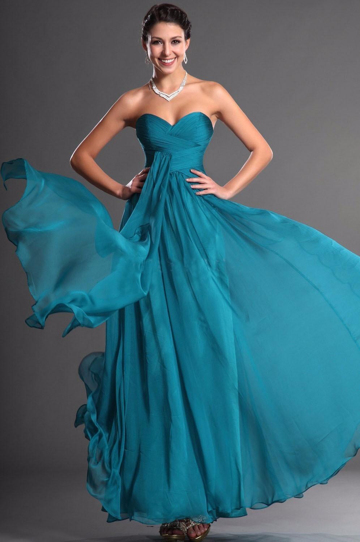 Strapless Long Turquoise Blue Bridesmaids Dresses