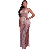 Summer Hollow Out Knitted Maxi Beach Dress Sexy Gold Purple Sleeveless Split Sheath Through Long Dresses Bodycon Dresses