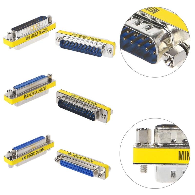2Pcs DB25 Mini Gender Changer 25 Pin Converter Adapter Serial Extended Adapte