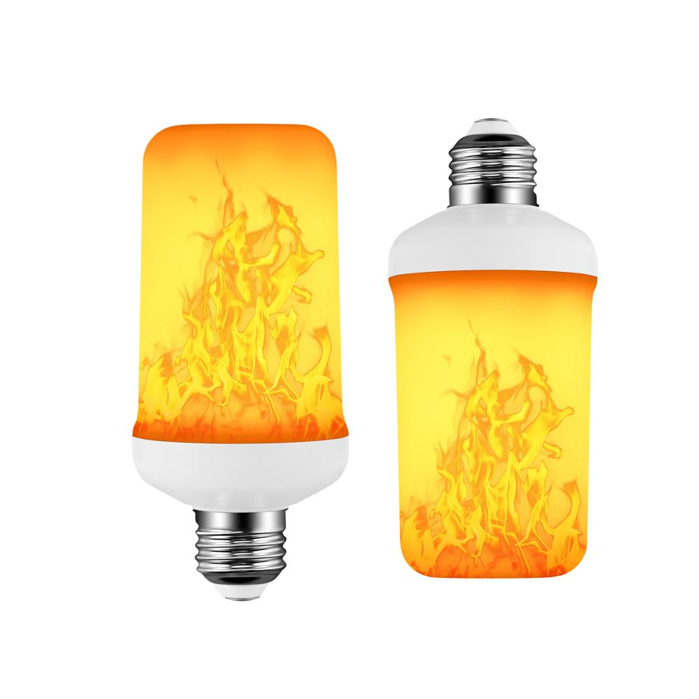 E27 LED Flame Lamp 4 Modes Yellow Flame Effect Light Bulb 85-265V Flickering Emulation Fire Light With Gravity Sensor Decor Lamp