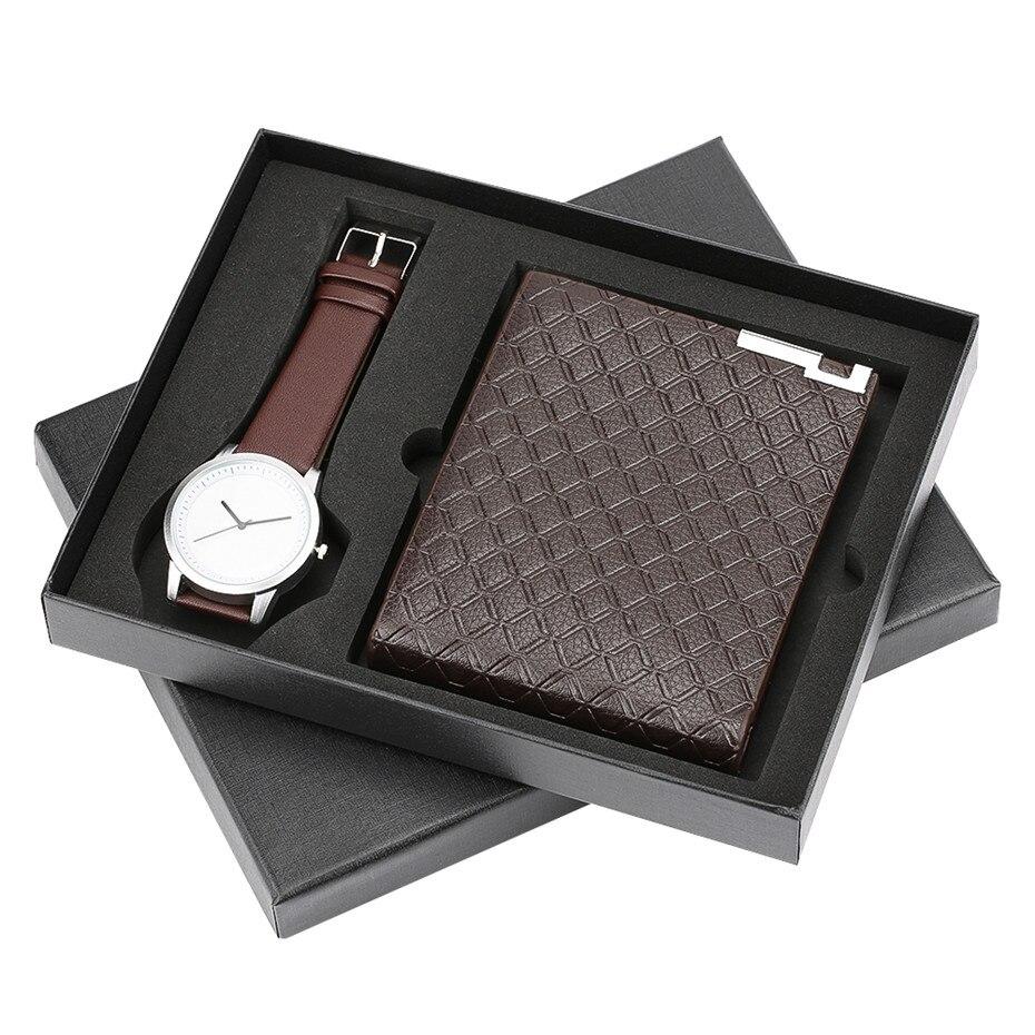 Top marque classique Quartz hommes montres pour petit ami sacs à main Reloj Masculino bracelet montre portefeuille horloge pour anniversaire noël cadeau ensemble