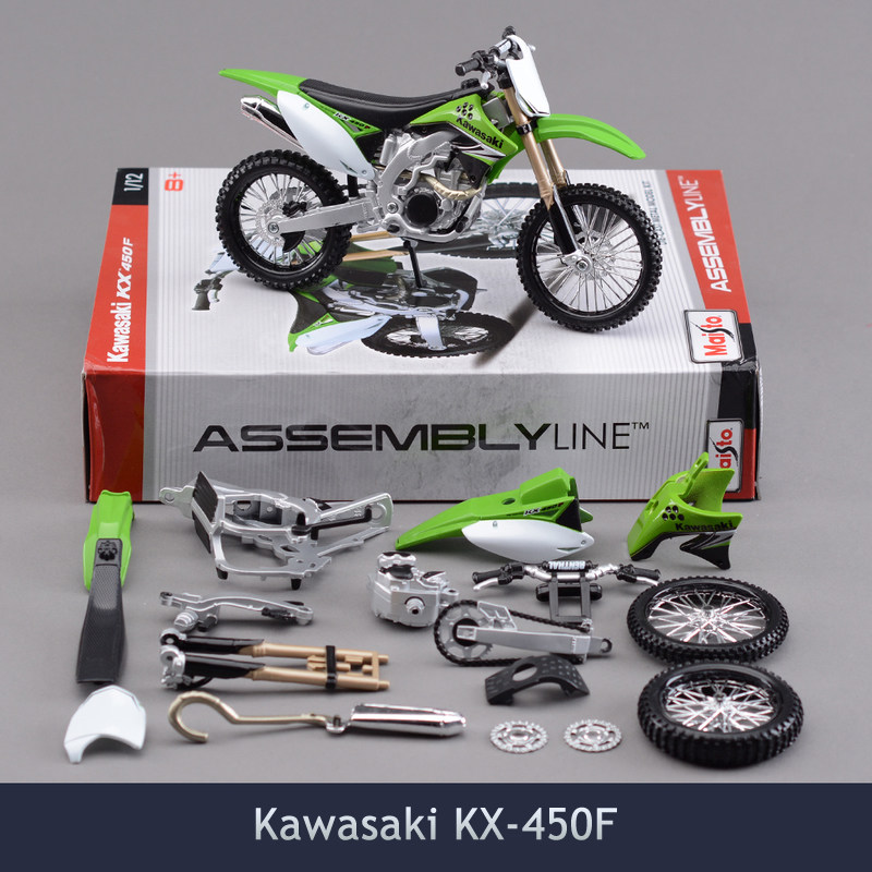 1/12 Scale Brinquedos Diy Assembly Motorcycle Model Toy Kawasaki Kx 450f Puzzle For Child Gift Or Collection with box diy001