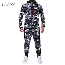 LAAMEI 2018 Camouflage Jackets Set Men Camo Printed Sportwear Male Tracksuit Top Pants Suits Hoodie Coat Trousers Autumn Winter(China)