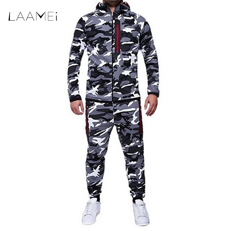 LAAMEI 2018 Camouflage Set Giacca Uomini Camo Stampato 2 pz Sportwear Maschile Tuta Top Pantaloni Vestiti Con Cappuccio, Pantaloni Cappotto di Autunno