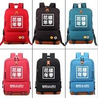 BTS Bangtan Boys SUGA J HOPE JIMIN V Canvas Backpack Student School bag Fashion Travel bag Zipper Rucksack Men's laptop bag