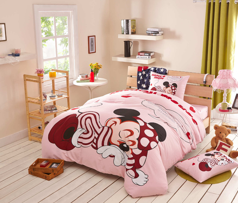 Minnie Mickey Mouse cartoon printed comforter duvet cover sets pink girls  bedding set 3 4. Popular Mickey Mouse Comforter Sets Buy Cheap Mickey Mouse