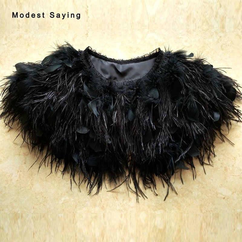Gothic Black Fur Ostrich Feather Coats Wedding Boleros 2018 Shrugs for Women  Bridal Capes Shawls Ups 91ed163be2c8