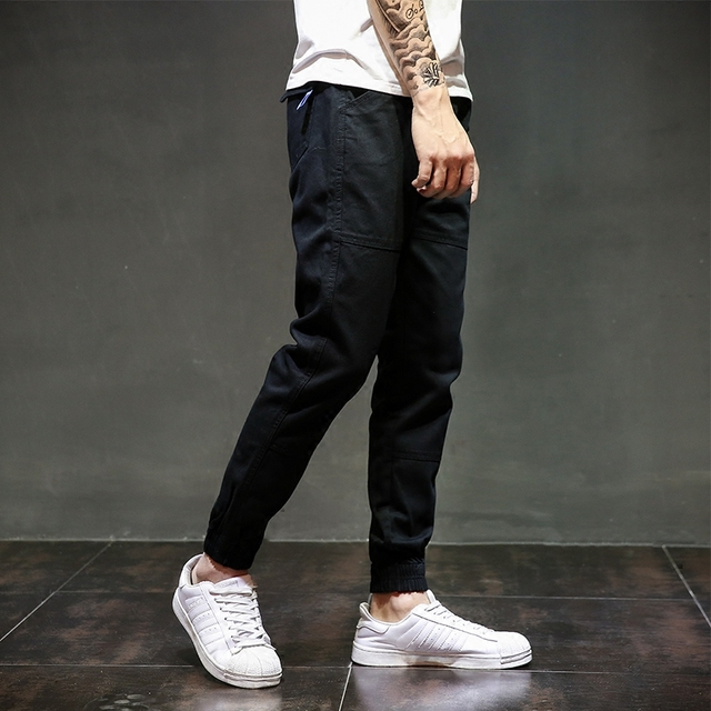 c62892502c54 European American Fashion Streetwear Mens Jeans Jogger Pants Youth Fashion  Summer Ankle Banded Pants Brand Boot Cut Jeans Pants