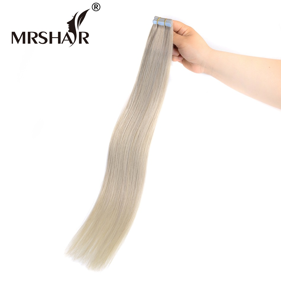 MRSHAIR Silver Color Tape In Hair Extensions 20pcs Non Remy Brazilian Human Hair On Adhesive Tape