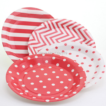 Free Shipping 96pcs Dispasable Round Paper Plates Baby PinkColours Party Tableware Events Food Tray Salad Dish