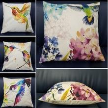 Bird Cushion Cover Decorative Pillows Print Sofa Car Cotton Linen Decoration Pillowcase Flower Cushion Pillow Cover for Sofa uneven wood print linen sofa pillowcase