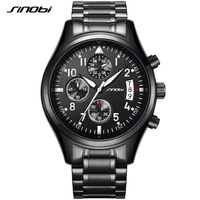 2016 SINOBI Germany Sports Diver's Watches Womens Chronograph Clock Mens Stainless Steel 10Bar Watch Geneva Quartz Wrist Watch