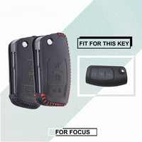 Genuine Leather Key Cover For Ford Focus 2 3 4 Mk2 Mk3 Mk4 Kuga Edge Mondeo Escape Escort Ecosport Fiesta Keychain Case