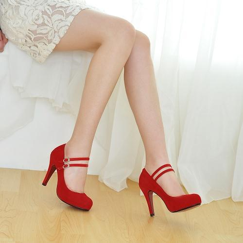 2ae13716bbb8 Hot Selling Mary Jane Red Bottom High Heels Women Shoes Fashion Ankle Strap  Thin Heels Women Pumps Ladies Elegant Wedding Shoes