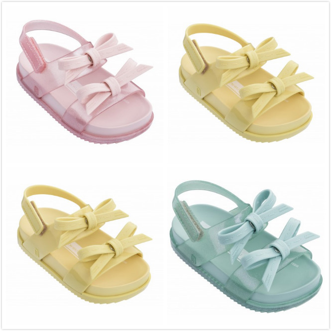 0367c0fe0cd5 Melissa 2 Layers Bow Brazil Girls Jelly Sandals 2019 Summer Children Sandals  Melissa Shoes Non-