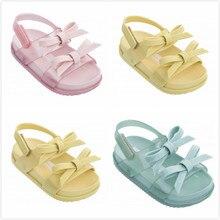 Melissa 2 Layers Bow Brazil Girls Jelly Sandals 2019 Summer Children Sandals Melissa Shoes Non-slip Girls Princess Sandals