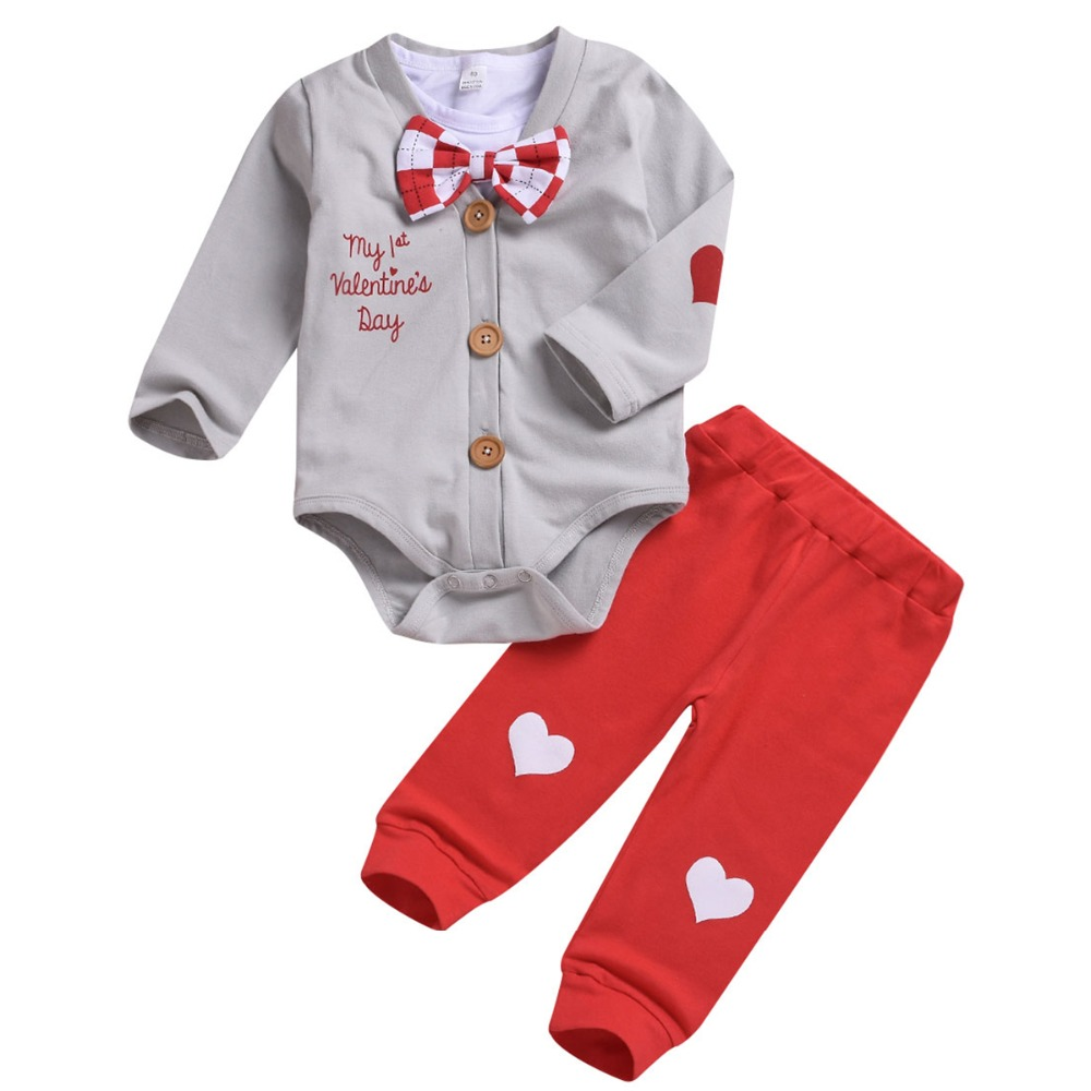 2019 New Valentine Baby Clothing Sets 3pcs Boy Clothes Set