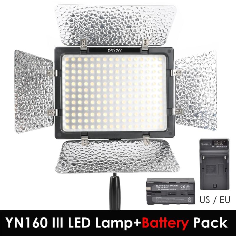 Yongnuo YN160 III 3200K / 5500K CRI95 160 LED Video Light + Battery Pack Charger Kit for Canon Nikon Sony DSLR & Camcorder yongnuo yn160 iii bi color 3200 5500k cri95 160 led video light with ac dc power adapter kit for canon nikon sony dslr camcorder
