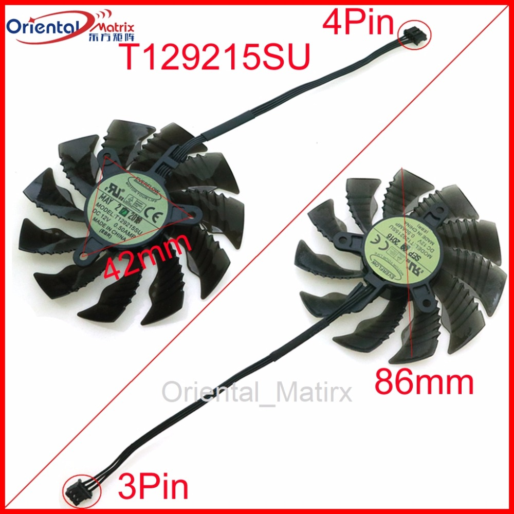 Free Shipping T129215SU 12V 0.50A 42*42*42mm 86mm VGA Fan For Gigabyte Graphics Card VGA Cooler Cooling Fan image