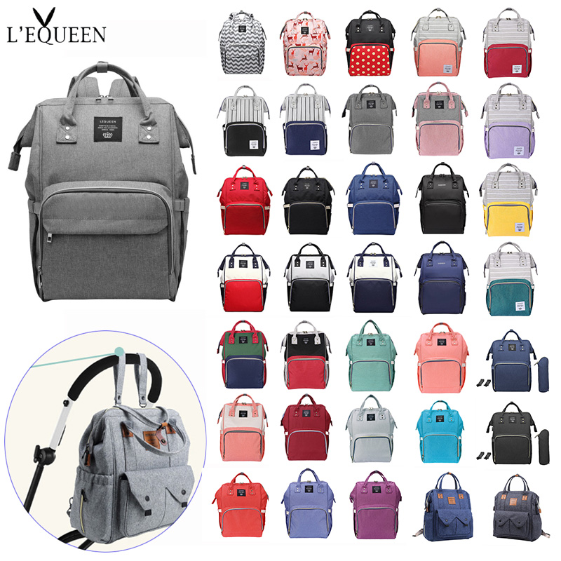 LEQUEEN Fshion Mummy Bag Cute Deer Print Diaper Bags Maternity Large Capacity Maternal Stroller Nursing Baby Care Props Backpack