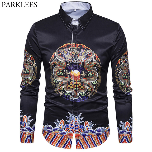 Heren Overhemd Casual.Casual Heren Overhemden Chemise Homme 2017 Luxe Draak Print Shirt
