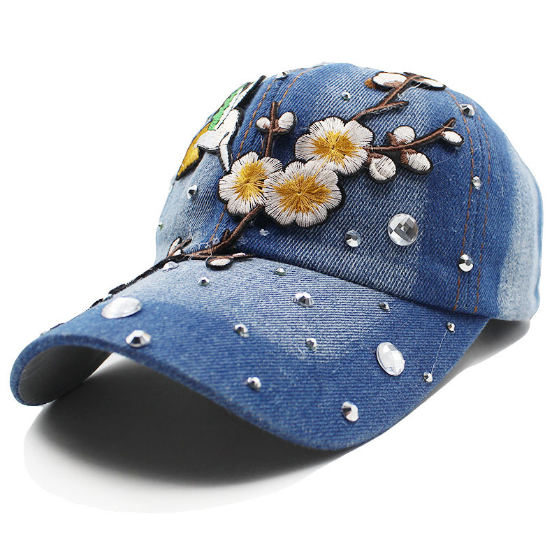 Lovingsha Floral Baseball Cap Snapback Summer Cap Spring Rhinestones Cap  For Girl Fitted Cap Women Wholesale Cheap Hat-in Baseball Caps from Apparel  ... 5115d3245a4a