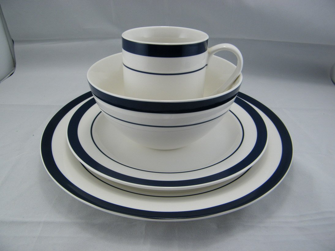 Dinnerware Set 4pcs Lot High Quality Porcelain Plate With Blue Zone A Dinner Platea SALAD PLATE SOUP BOWL AND MUG In Sets From Home Garden
