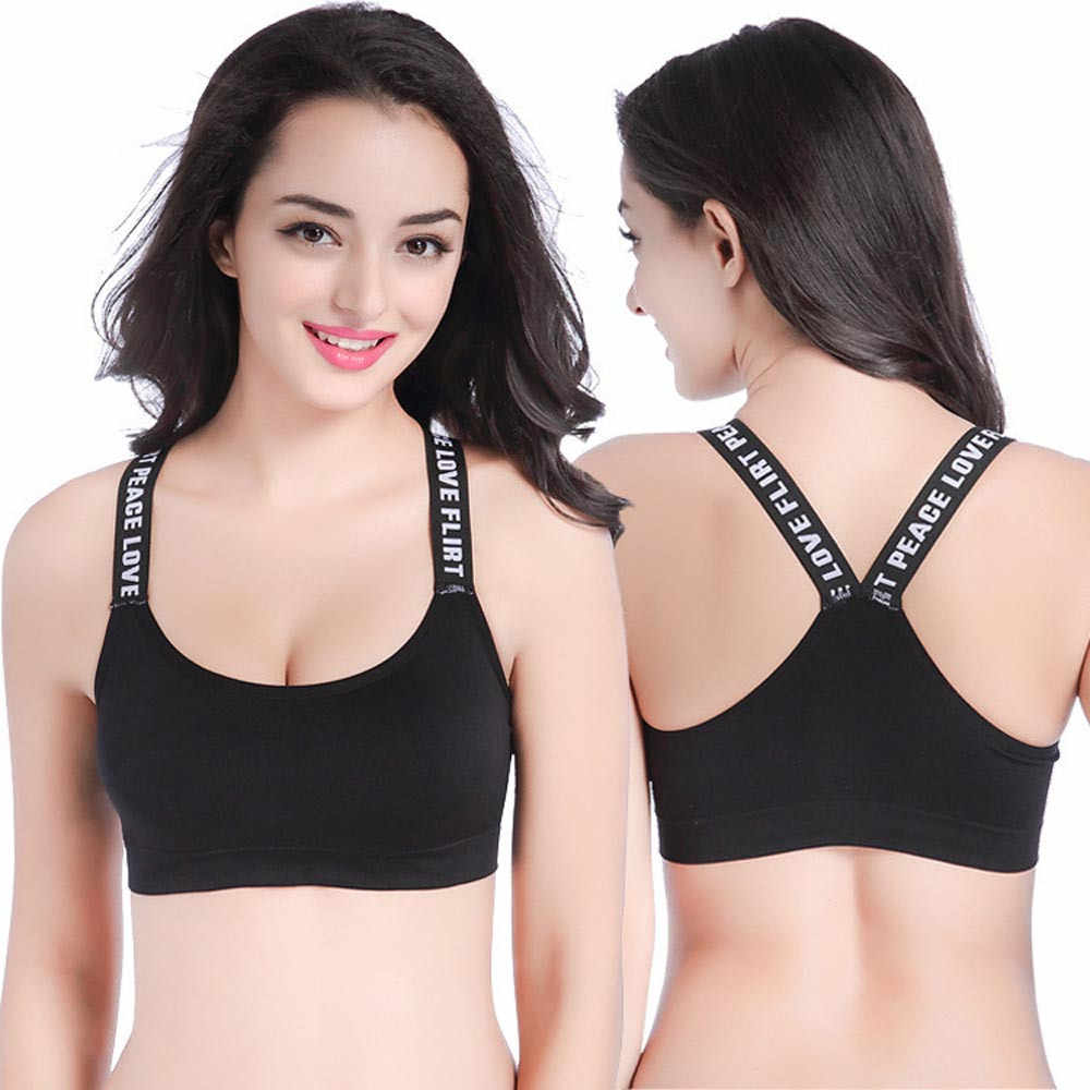 c644d3c85d Sports Bra For Womens Underwear Women Athletic Vest Underwear Letter  Printed Push Up Padded Yoga Sports