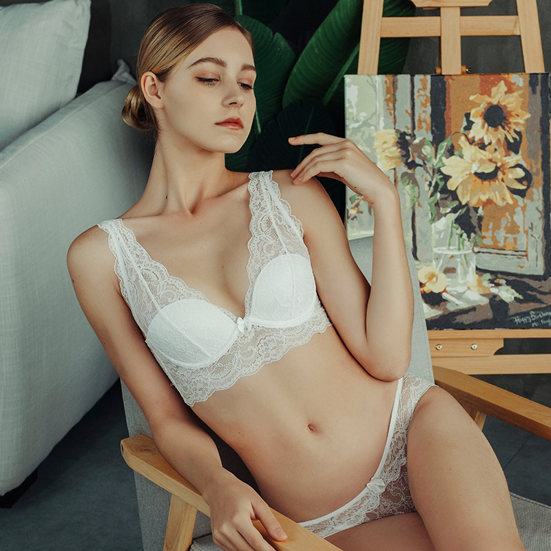 SP CITY Sexy V neck Lace Transparent Bra Set Women Hollow Out Push Up Bra Female Solid Seamless Lingerie Brassiere Beauty Back in Bra Brief Sets from Underwear Sleepwears