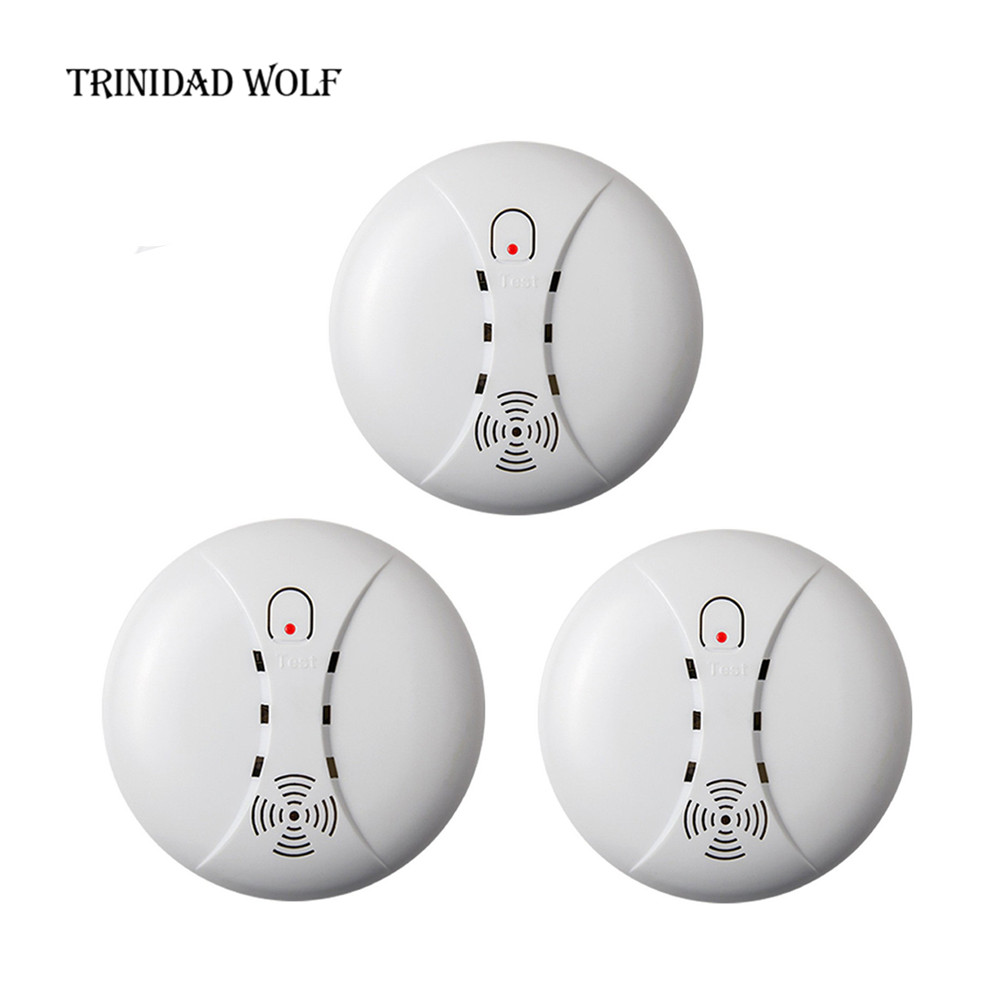 TRINIDAD WOLF 3pcs fire protection smoke detector 433mhz wireless sensor detector for GSM WIFI home security alarm system wireless smoke fire detector smoke alarm for touch keypad panel wifi gsm home security system without battery