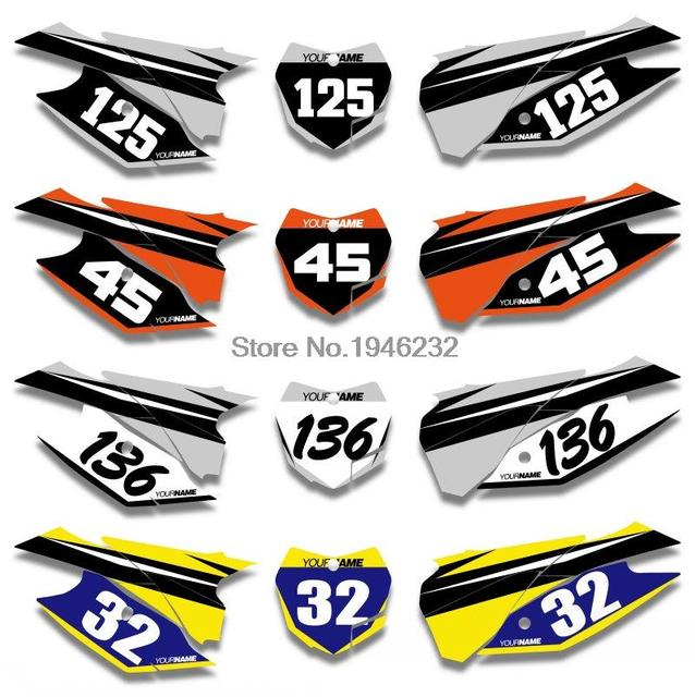 Nicecnc custom number plate background graphics sticker decal for ktm sx xc 125 150 250