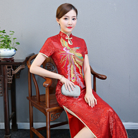 Sexy Sequined Slim Cheongsam Vintage Chinese Style Womens Long Gown Qipao Party Evening Dress Retro Vestidos Plus Size 4XL 5XL