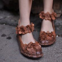 Artmu Women Sweet Handmade Flower Mary Jane Shoes Soft Cowhide Vintage Moccasins Roma Shoes Size 40 Blue Brown