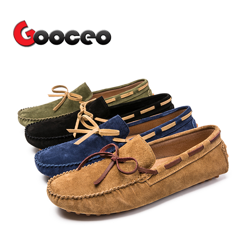 Men's Loafers Moccasins Flats Driving Doug Shoes Boat Slip-On For Men Spring Suede Leather Casual Flat Nubuck Handmade Leisure 1