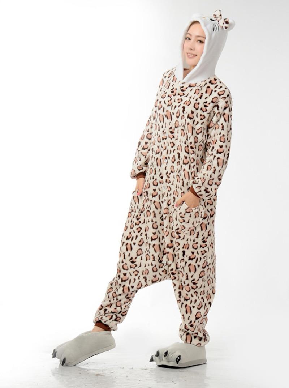 Wholesale Winter Animal Onesies Cartoon Unisex Adult Leopard Tiger Onesie Cosplay Costume Flannel Sleepwear Pajamas Sets