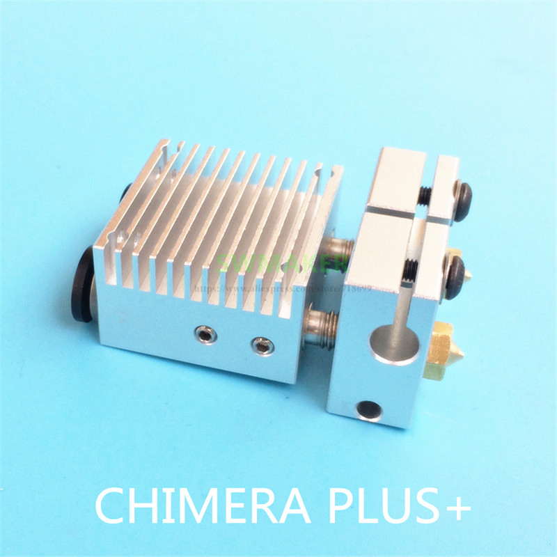 New heat sink Chimera Plus+ Dual Extrusion head 2 in 2 out V6 PT100 hotend kit 1.75mm 0.4mm for 3D printer parts
