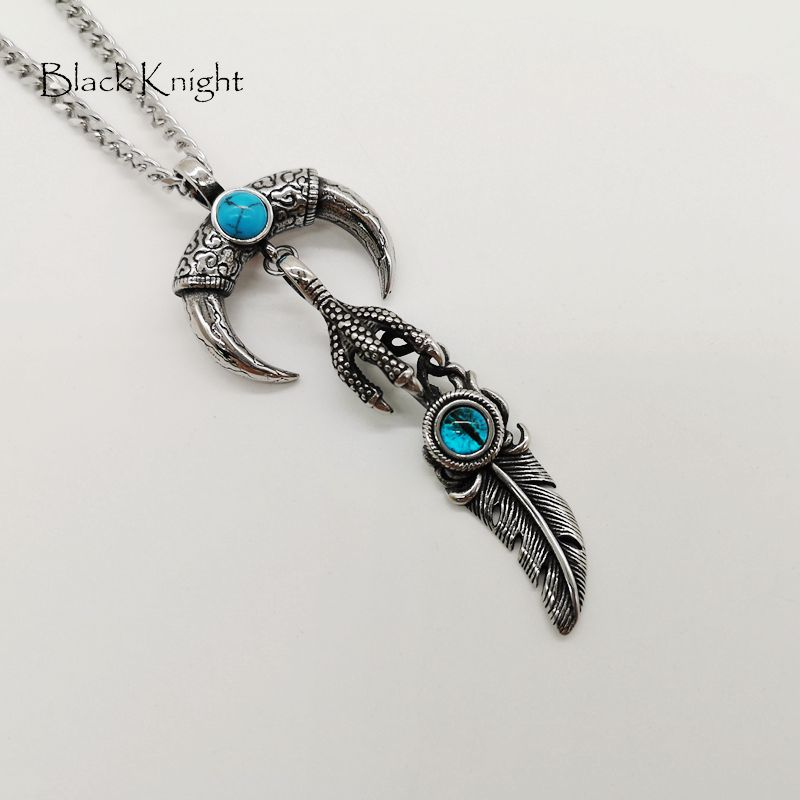 Black Knight Stainless steel devil eye eagle claw Feather pendant necklace Blue stone Animal beast teeth necklace men BLKN0763 in Pendant Necklaces from Jewelry Accessories